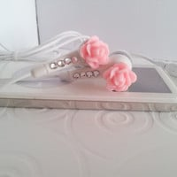 Back in Stock Cute Mini Pink Rose Earbuds with Swarovski Crystals