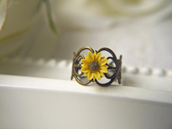 I Heart Sunflower Ring. Bright Yellow Sunflower