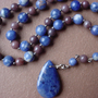 Sodalite pendant necklace, y necklace, blue bead necklace