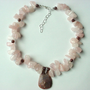 Chunky rose quartz necklace, gemstone pendant necklace, pink beaded necklace