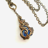 Sapphire Blue Nouveau Vines - Artisan Rendered Necklace