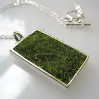 Lush Green Grass Silver Rectangle Necklace