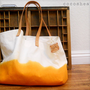 TOTE BAGsunshine orange with leather by cocosheaven on Etsy