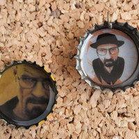 Heisenburg Bottle Charms - recycled beer cap jewelry breaking bad walter white themed bad ass unisex gender neutral FREE shipping to USA