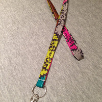 Lanyard Key ID Holder with Key Ring and Swivel Hook Green Pink Brown on Gray Contemporary Modern Pattern