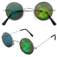 90s CAT Grunge Hologram Vintage Deadstock Round Lennon Sunglasses Kitty Kitten