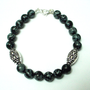 Snowflake obsidian bracelet, mens black bead bracelet, obsidian jewelry