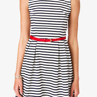 Striped Fit & Flare Dress w/ Belt | FOREVER 21 - 2027940093