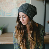 Slouchy hat, gray, dark gray, women, men, teen, unisex, hat, beanie, snowboarding, ski, skateboarding, gray, fall, winter, spring