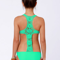Beach Riot The Day Dreamer Sea Green One Piece Swimsuit