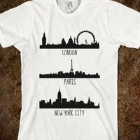 London, Paris, New York City skylines