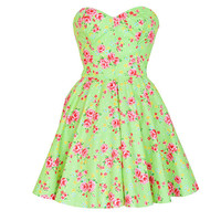 Green Floral vintage Style Party Dress | Style Icon`s Closet