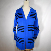 Vintage 1980s Striped Cardigan Sweater by A&#x27;Milano by PawPawCrafts