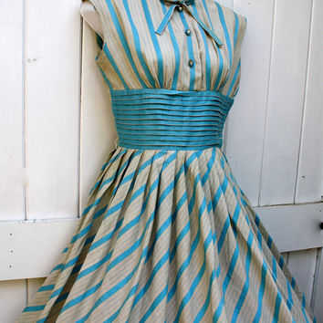 Vintage Dress / 1950's Dress / Aqua Blue Dress by ObjectsbyEchoes