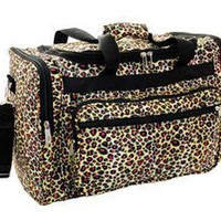 "Amazon.com: 16"" Leopard Print Duffle Dance Gym Bag Travel Luggage Carry on Black Brown: Clothing"