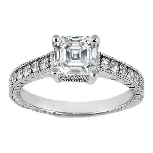 Engagement Ring setting only Asscher from MDC Diamonds