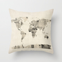 Map of the World Map from Old Postcards Throw Pillow by artPause | Society6