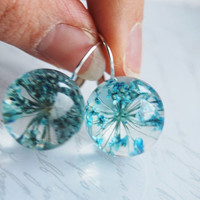 Real Flower Earrings Blue Resin Ball Orb Globe Pressed Flower Jewelry Crystal Clear Petite Dainty Gift for Her