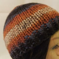Hand Knit Teen Beanie Hat Brown Rust Blue Toque Handmade Child Hat Boy Girl Unisex