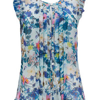 Blue Floral Print Top - Tops - Clothing