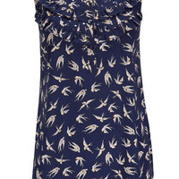 Blue Bird Print Top - Tops - Clothing