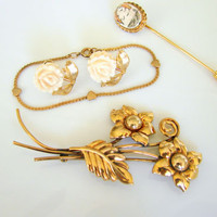 Vintage Gold Filled Jewelry Lot Earrings Brooch Child's Bracelet Scrimshaw Pin