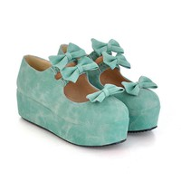 Womens Sweet Dolly Bow Wedge Platform Pumps Flat Casual Lolita Shoes #-1