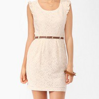 Lace Sheath Dress w/ Belt