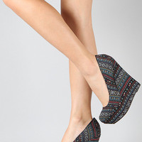 Breckelle Cilo -Black Tribal Print Almond Toe Wedge