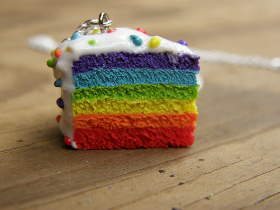 Six Layer Rainbow Pride Cake Necklace from MadeWithSisterlyLove