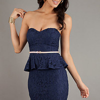 Short Strapless Peplum Dress