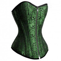 RV-009 - Green and Black Reversible Brocade / Taffeta Style Waist Training Corset