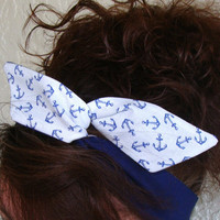 Dolly Bow, Blue Anchors on White and Blue Reversible, Pin Up Wire Headband Rockabilly Teen Woman