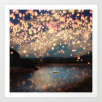 Love Wish Lanterns Art Print by Belle13