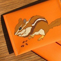 Orange Chipmunk Pouch / Coin Purse / Wallet Eco by birdversusbird