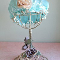 Water Lilly Satin Shower Cap In Aqua