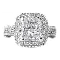 Engagement Ring - Radiant Diamond Legacy Style Engagement Ring 0.96 tcw. In 14K White Gold - ES17