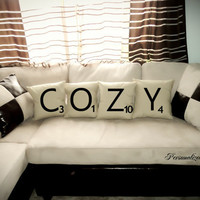 Set of 4 SCRABBLE LETTER decorative pillow by PersonalizedWorld