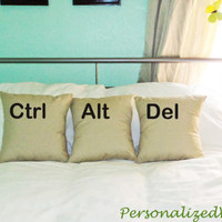 Ctrl - Alt - Del--- Set of 3 decorative pillow cases cushion covers