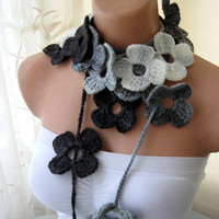 Black Grey White Flower Hand Crochet Lariat Scarf by fairstore
