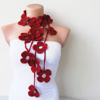 Red Ruby Burgundy Flower Hand Crochet Lariat Scarf by fairstore