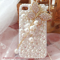 iPhone 5 Case, Unique iPhone 5 Case, iPhone 4 case, Pearl iPhone 5 case bling butterfly, Luxury iphone 4 bling case, cute iphone 4s case