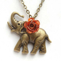 Antiqued Brass Elephant Rose Necklace by gemandmetal on Etsy