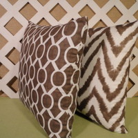 Pair of Italian Brown Pillow Covers in Mixed Prints
