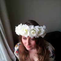 Floral crown flower crown rose crown headpiece headband wreath with pink silk roses festival - 'Ivory Kisses'