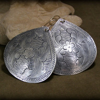 Large Silver Earrings by StoneWearDesigns