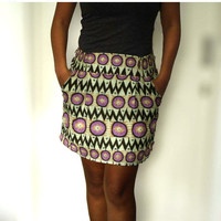 ON SALE OOAK chevron  Dark Brown Tribal MIni Skirt with Two Pockets