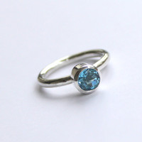 Promise Swiss Blue Topaz Stone Solitaire Stacking by meltemsem