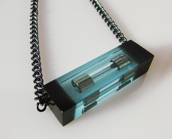 Electric Blue Resin Necklace/ With reclaimed fuses by tikibrighton