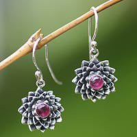 Ruby earrings, July Water Lily